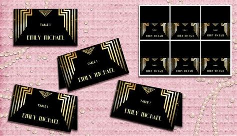 deco place card template cards for a great gatsby wedding great gatsby