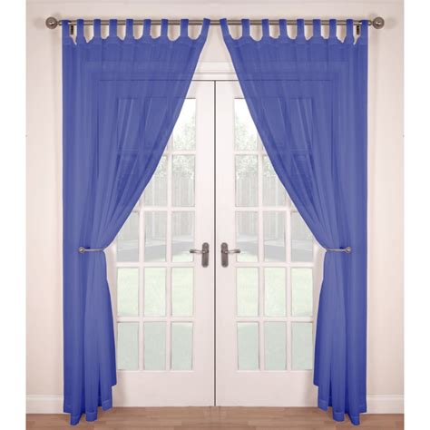 Tab Top Voile Panels Pair Finished In Cornflower Blue