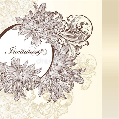 fashion elegant background with hand drawn flowers royalty elegant wedding invitation card for design stock vector