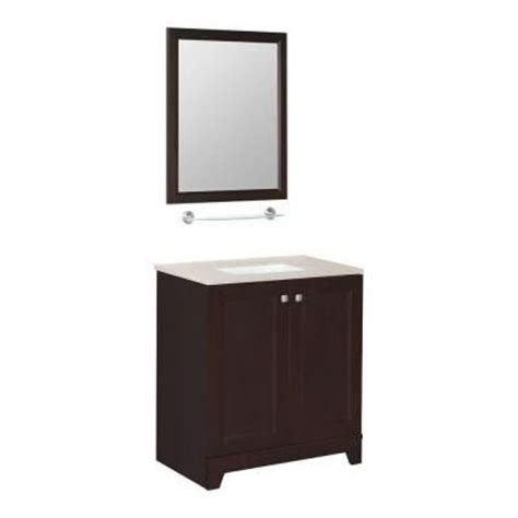 glacier bay 30 1 2 in vanity in java with solid