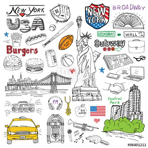 new doodle quot new york city doodles elements set with taxi