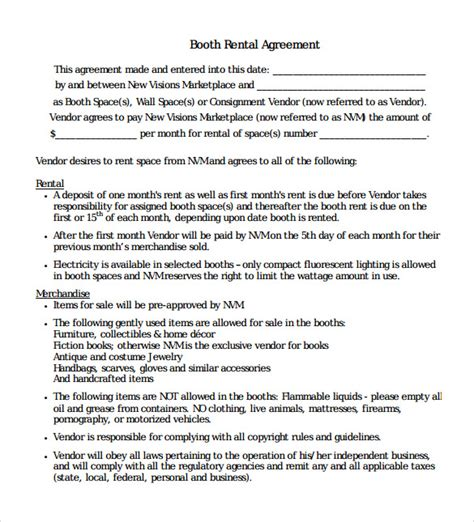 salon booth rental agreement template booth rental agreement 8 sles exles format
