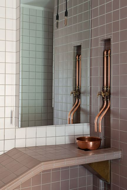 copper taps bathroom love the exposed pipes kind of a steunk vibe not the setup though but
