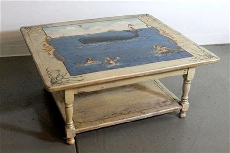 Painting Coffee Table Custom Painted Coffee Table For Coastal Home Farmhouse Coffee Tables Boston By