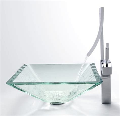 Waterfall Kitchen Faucet by Kraus C Gvs 901 19mm 1200 Clear Aquamarine Glass Vessel