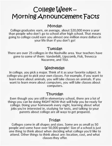 College Awareness Week The Responsive Counselor Elementary School Morning Announcements Template