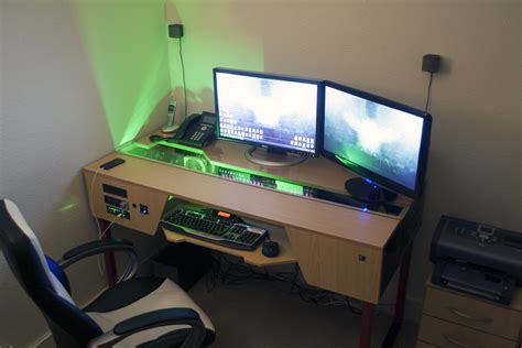 Custom Desk Ideas Custom Desk With Pc Built In Gaming Battlestation Via Reddit User Karmicviolence Gaming And