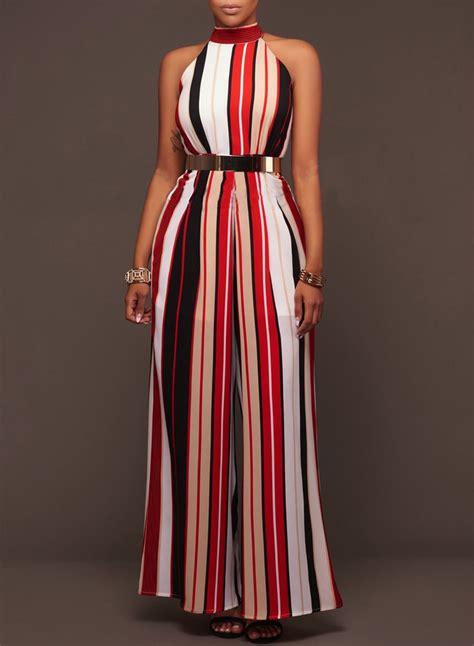 Shoulder Striped Jumpsuit s fashion halter shoulder striped wide leg