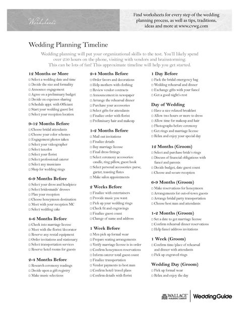 wedding planner timeline template 5 best images of free printable wedding planner worksheets