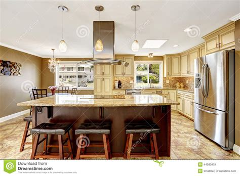 Curved Kitchen Islands Beautiful Kitchen Island With Granite Top And Hood Stock