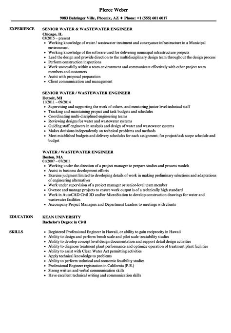 water wastewater engineer resume sles velvet