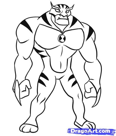 draw rath step step ben 10 characters cartoons draw cartoon characters free