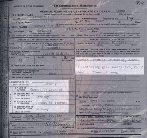 City Of Detroit Birth And Records Massachusetts Certificate For Caroline Richter Family Stories
