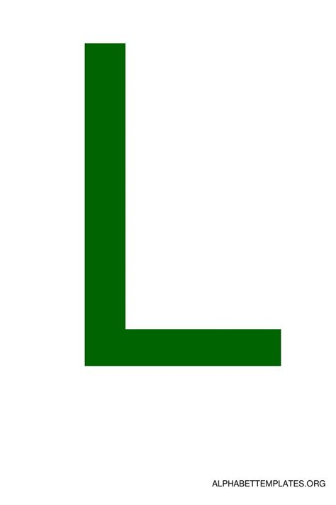 L Colored by Large Alphabet Templates In Color Green Alphabet Templates Org