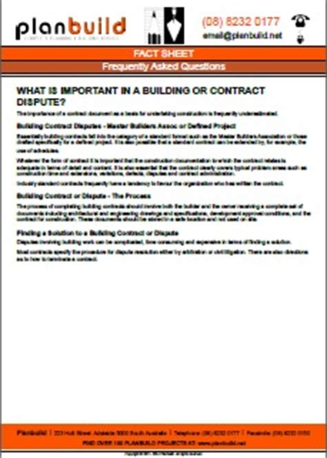 design and build contract disputes building contract or dispute by planbuild adelaide