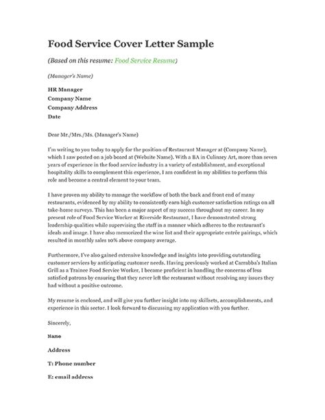 Food Services Cover Letter by Food Service Cover Letter Sle