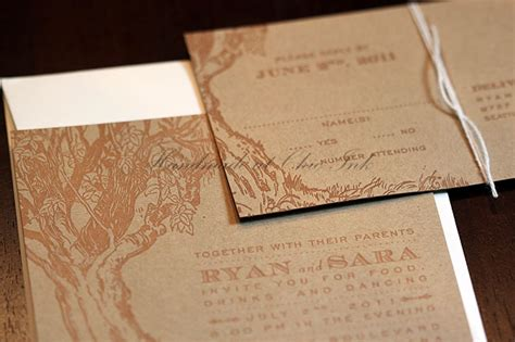 custom tree themed letterpress invitations for reception in montana chic ink