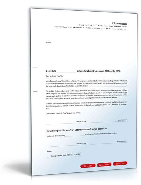 Musterbriefe Bestellung Bestellung Datenschutzbeauftragter Muster Zum