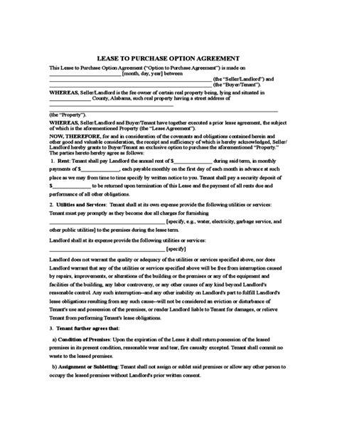 rent to buy agreement template rent to own agreement sle form rent to own in 2019