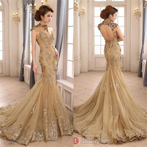 gold beaded wedding dress 2015 luxury gold mermaid wedding dress high neck sheer