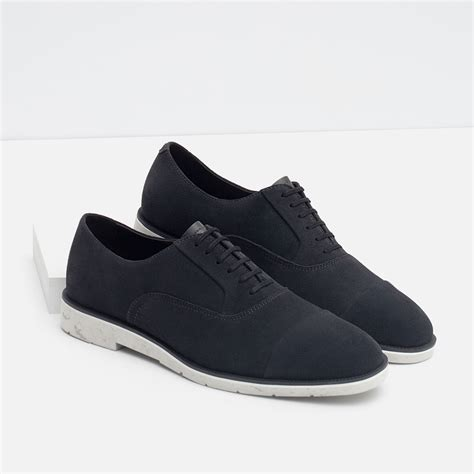 oxford shoes suede zara suede oxford shoes in gray for lyst