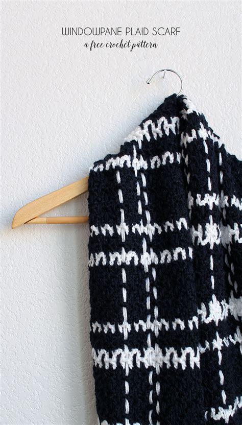 is crochet easier than knitting windowpane plaid scarf free crochet pattern lou