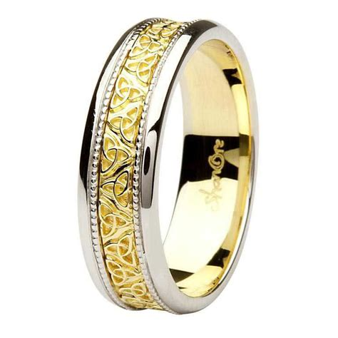 celtic knot two tone 14k gold gents wedding ring