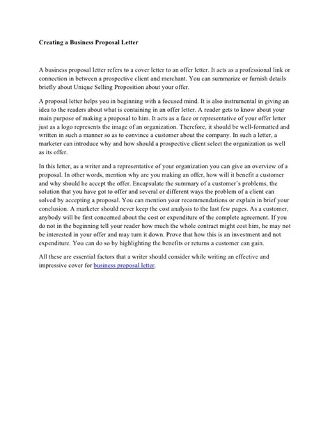 creating  business proposal letter