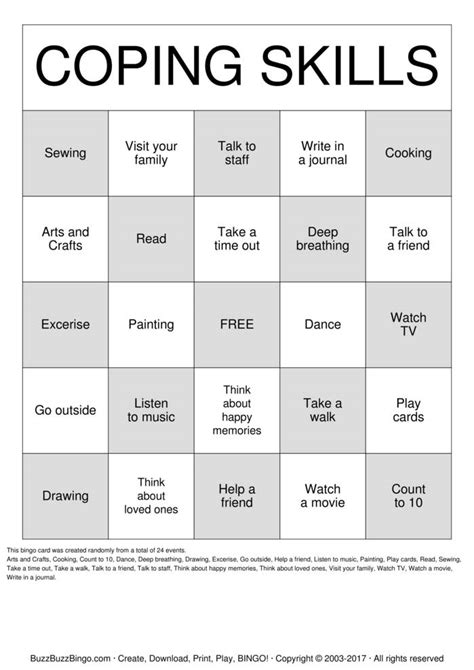 anger management bingo cards printable search results for coping skills bingo calendar 2015