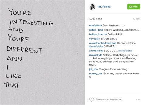 membuat quote instagram jadi pengantin baru ratu felisha tulis ucapan romantis