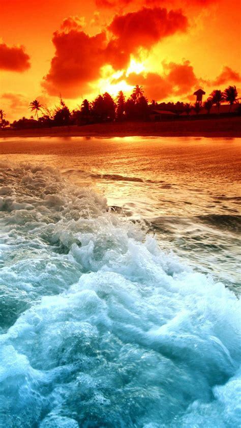ocean beach sunset hd iphone  wallpapers