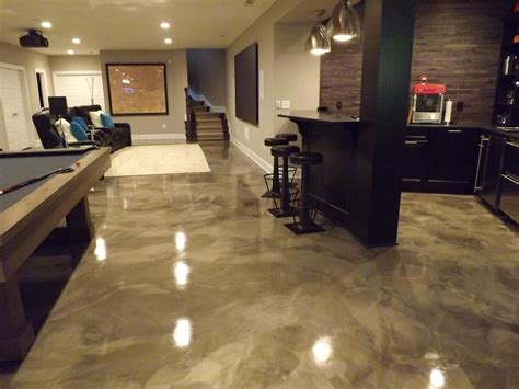 flooring basement design with epoxy flooring images and pool table also bar table with