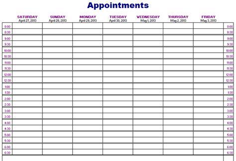 Schedule Book Template