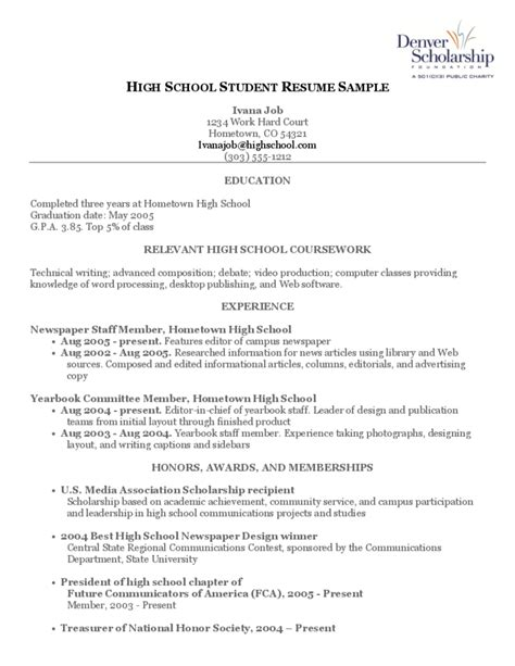 sle high school student resume template high school student resume sle free