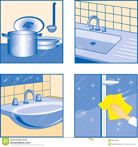 Cleaning Kitchen Faucet by House Cleaning Icons Stock Vector Image Of Ideogram
