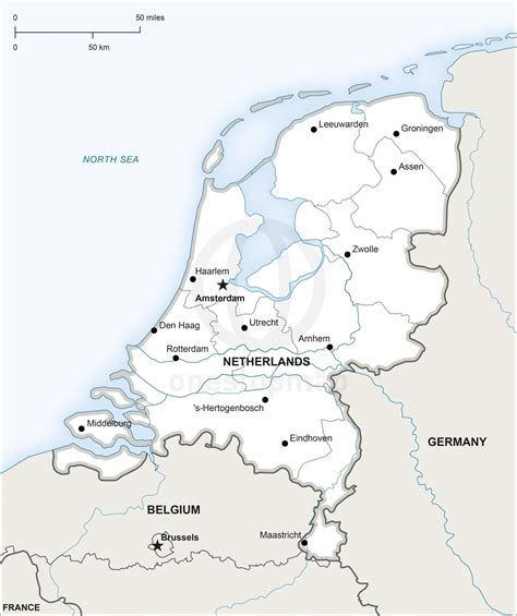 map  netherlands political   travel map vector