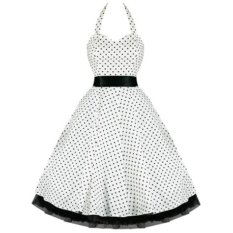 swing kleid mit punkten damen weisses kleid mit schwarzen punkten vtg 50s swing