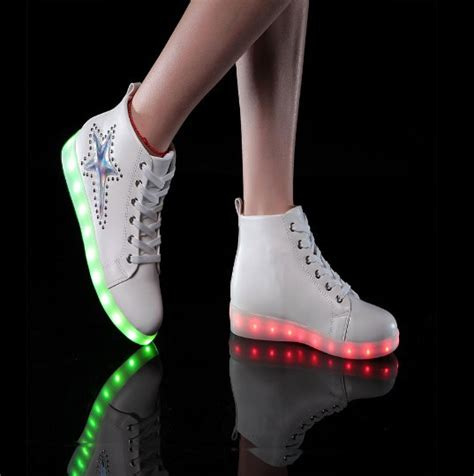 light up high heel shoes 16 colors 2015 new fashion led sneakers womens high