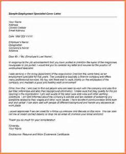 employment cover letter sles free cover letter for employment specialist