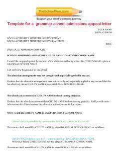 Exle Appeal Letter For Grammar School grammar school appeals letter template free secondary grammar appeals letter theschoolrun