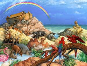 Rainbow Duvet Cover Noah And The Ark Painting By Randy Wollenmann
