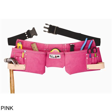 bourn tough 4prw 9 pocket suede leather s pink tool belt