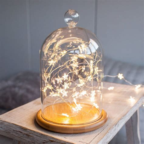 fairy lights in a jar glass bell jar with star micro fairy lights by lights4fun