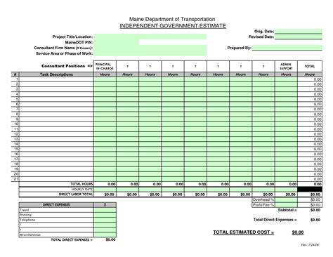 construction cost estimate sheet construction bid sheet template construction estimate