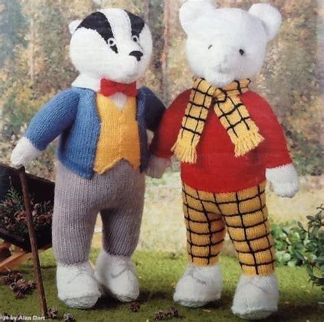 free patterns alan dart rupert bear and bill badger toy knitting patterns by alan