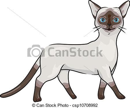 Illustration of a siamese cat walking gracefully. Free Clipart Of Siamese Cats