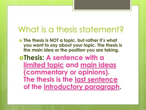 define thesis statement in literature ppt writing a thesis statement powerpoint presentation