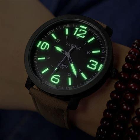 yazole 319 luminous pu leather band analog sport wrist