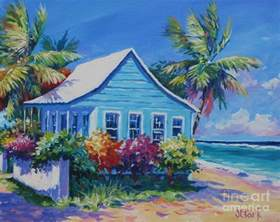 Florida Cottage Plans blue cottage on the beach painting by john clark