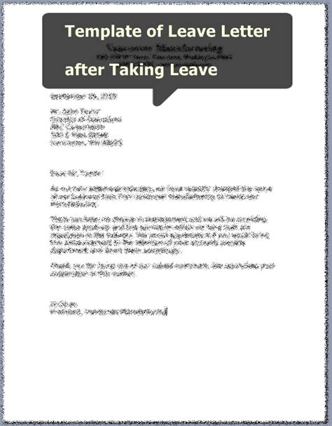 College Leave Letter After Taking Leave Leave Request Form Images